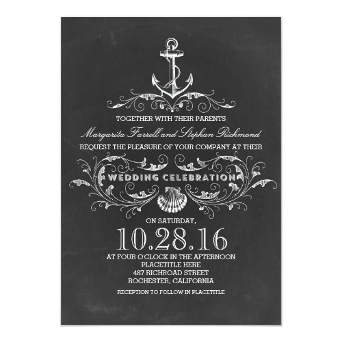 chalkboard anchor beach wedding invitations