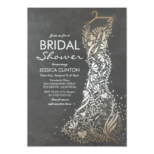Chalkboard and Gold Vintage Bridal Shower Invitation