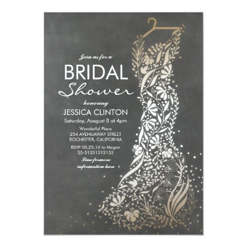 Chalkboard and Gold Vintage Bridal Shower Invitation