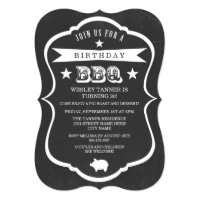 Chalkboard Barbecue Birthday Party Invitation