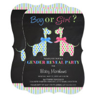 Chalkboard Boy or Girl Giraffe Gender Reveal Party Card