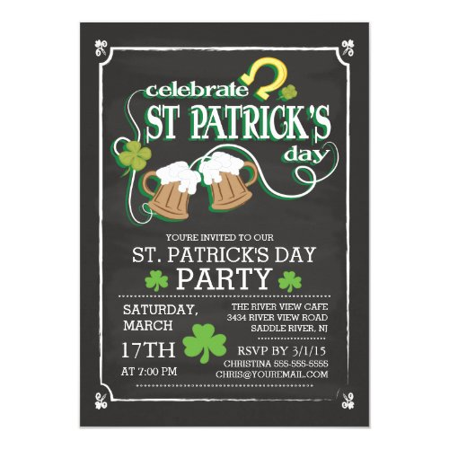 Chalkboard Celebrate St Patrick's Day Dinner Party Invitation