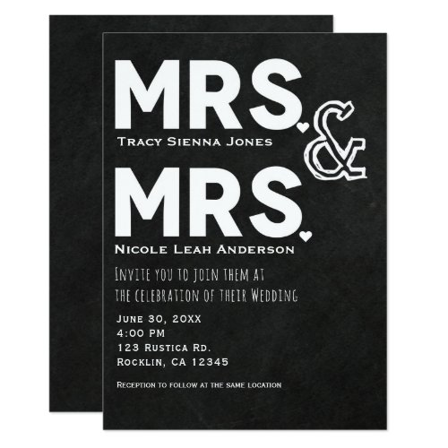 Chalkboard Chalk Mrs. & Mrs. Wedding Engagement Invitation