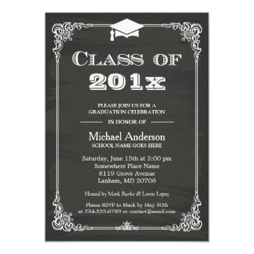 Chalkboard Class of 2018 Grad Cap Graduation Invitation