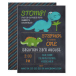 Chalkboard Cute Dinosaurs 1st Birthday Party Invitation
