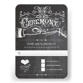 Chalkboard Cute Heart Initials Typography RSVP
