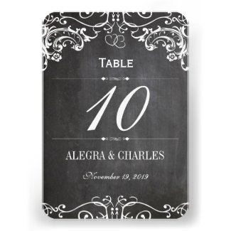 Chalkboard Cute Heart Initials Typography RSVP