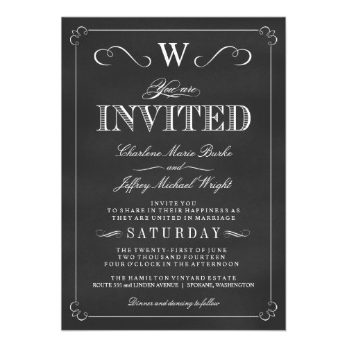 Chalkboard Fancy Monogram Wedding Invitations By Weddingtrendy