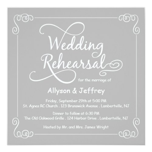 Chalkboard Gray Wedding Rehearsal Invitation