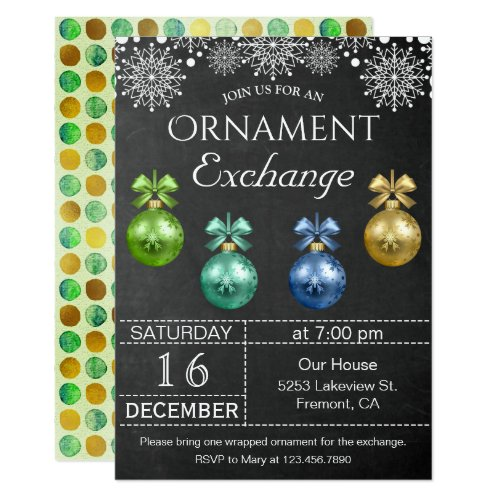Chalkboard Holiday Ornament Exchange Party Invite