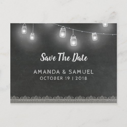 Chalkboard Lantern Wedding Announcement Postcard