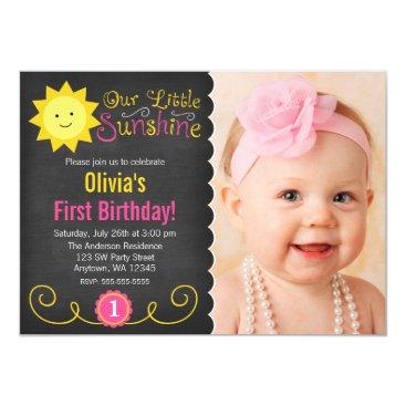 Chalkboard Little Sunshine Pink Yellow Birthday Card