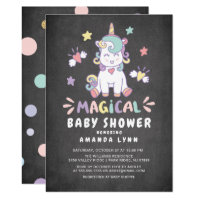 Chalkboard Magical Baby Shower Unicorn Invitation