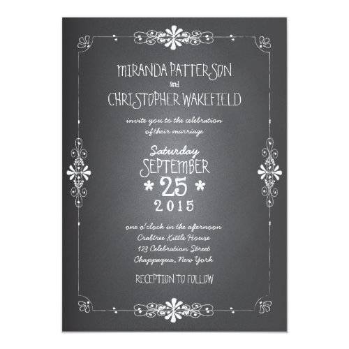 Chalkboard Mason Jar Wedding Invitation