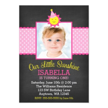 Chalkboard Pink Sunshine 1st Birthday Photo Card