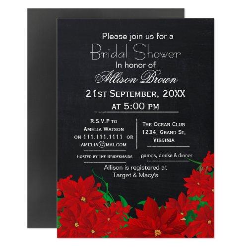 chalkboard poinsettias winter Bridal shower Invitation