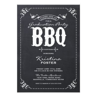 Chalkboard Rustic Vintage Graduation Party BBQ Card