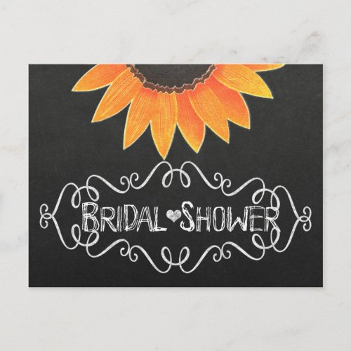 Chalkboard Sunflower Rustic Country Bridal Shower Invitation Postcard