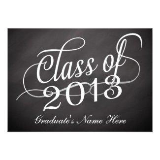 Chalkboard Swirl Class of 2013 Custom Announcements