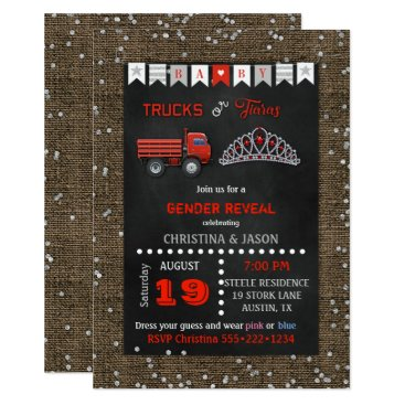 Chalkboard Trucks or Tiaras Red Gray Gender Reveal Invitation