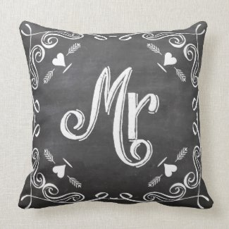 Chalkboard Vintage Modern Mr Groom Pillow