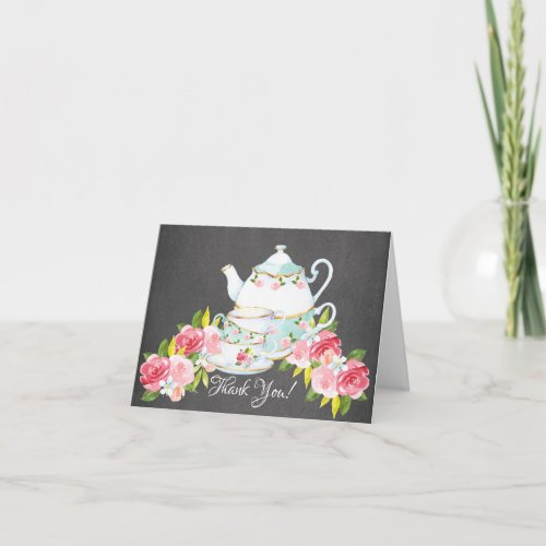 Chalkboard Watercolor Tea Party Shower Thank You