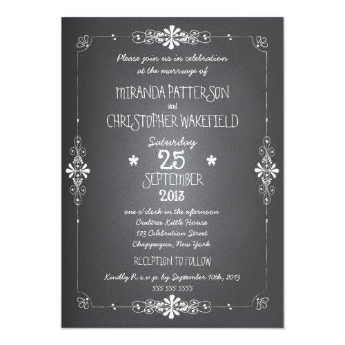 Chalkboard Wedding Invitation with RSVP