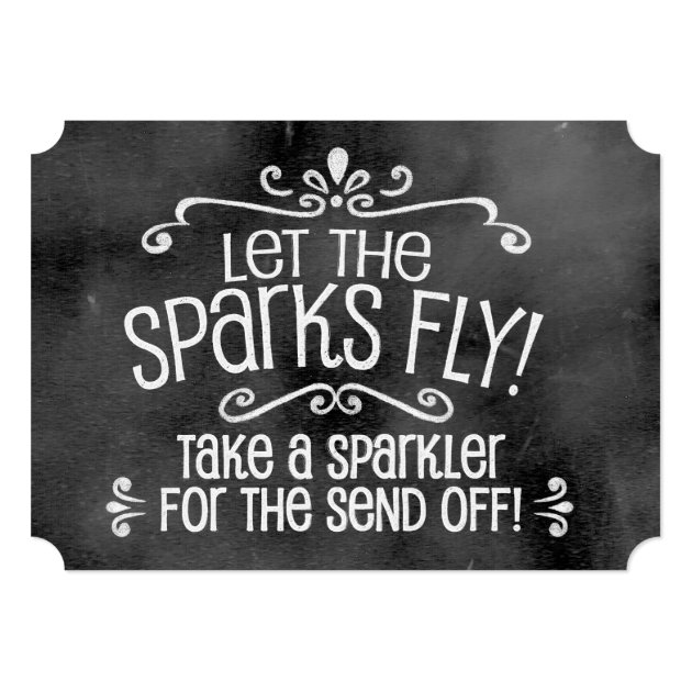 Chalkboard Wedding Sign: Sparkler Send Off Card | Zazzle