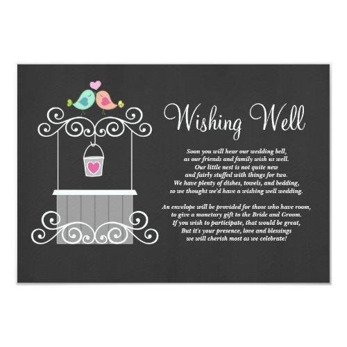 Chalkboard Wishing Well Lovebirds Invitation