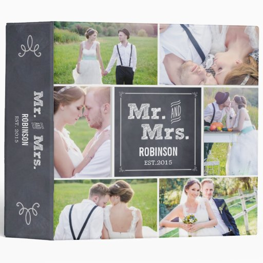 Chalked Collage Wedding Photo Album 3 Ring Binder