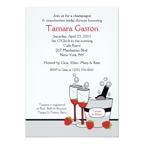 Champagne & Strawberries 5x7 Bridal Shower Invite