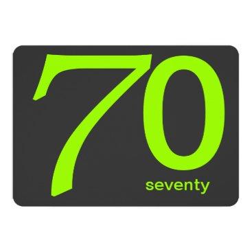 Charcoal and Lime Custom 70th Birthday Invitation