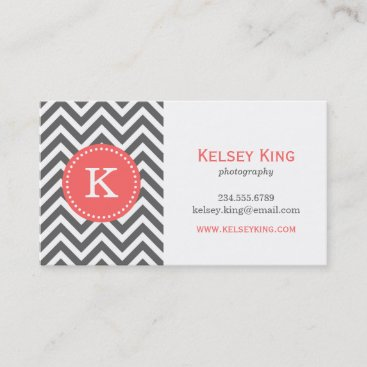 Charcoal Gray and Coral Chevron Custom Monogram Business Card