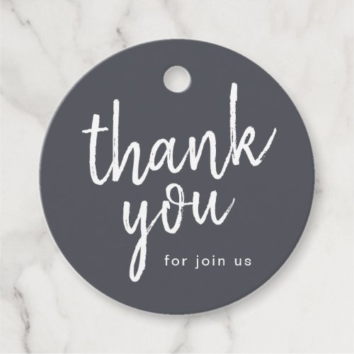 Charcoal minimalist handwritten thank you script favor tags