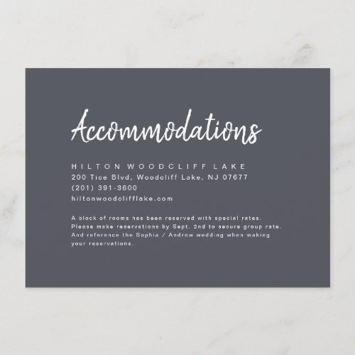 Charcoal minimalist script accommodation enclosure card