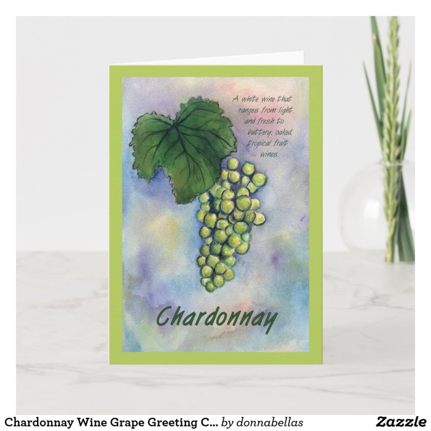 Chardonnay Wine Grape Greeting Card