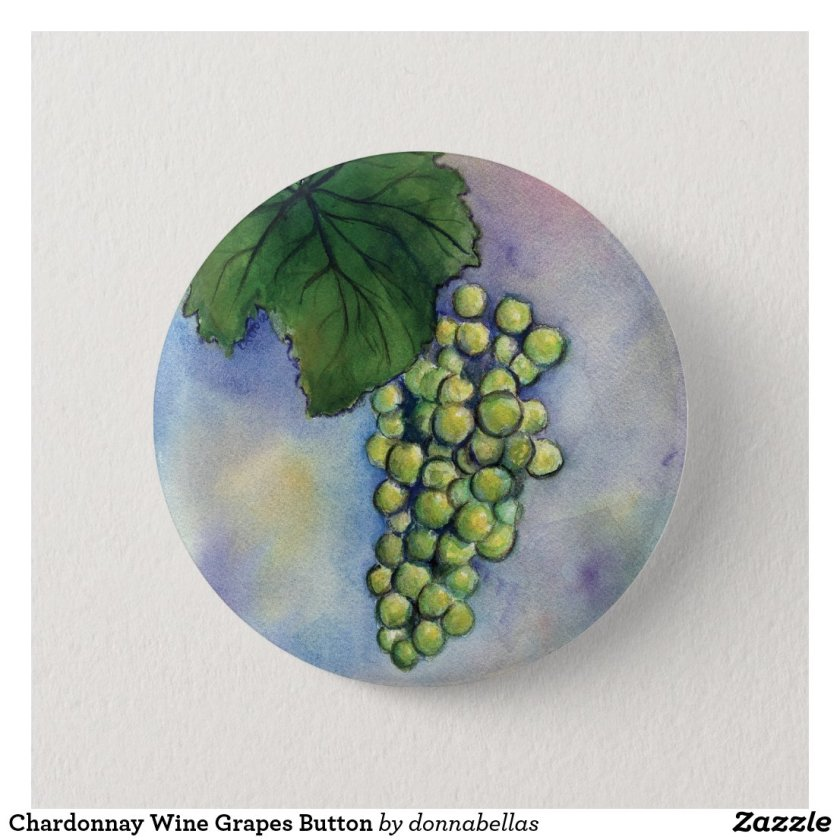 Chardonnay Wine Grapes Button