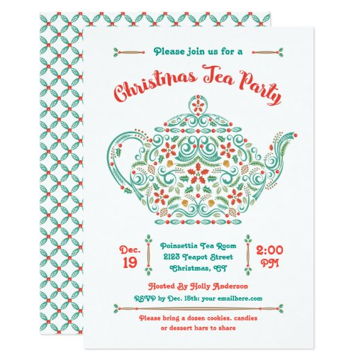 Charming Teapot Christmas Tea Party Invitation