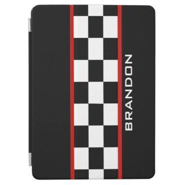 Checkered Racing Stripe Design iPad Cover