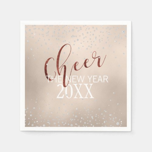 cheer the new year glam diamond and gold foil napkin