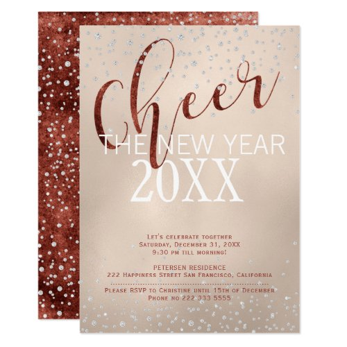 Cheer the New Year Gold Foil Diamonds Party Invitation