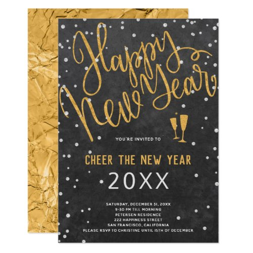 Cheer the New Year Gold Metallic on Navy Party Invitation