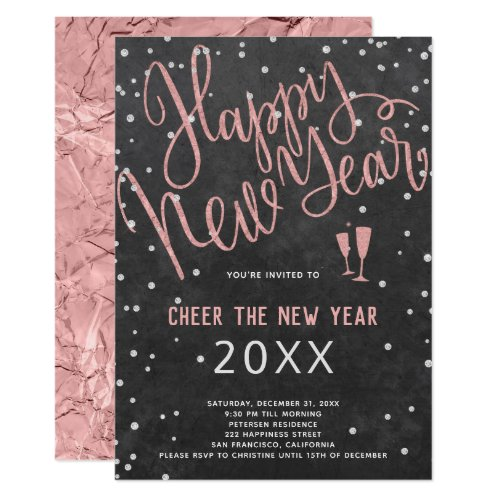 Cheer the New Year Rose Gold Chalkboard Party Invitation