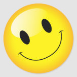 Cheer Up Yellow Emoji Party Happy Face Symbol Classic Round Sticker