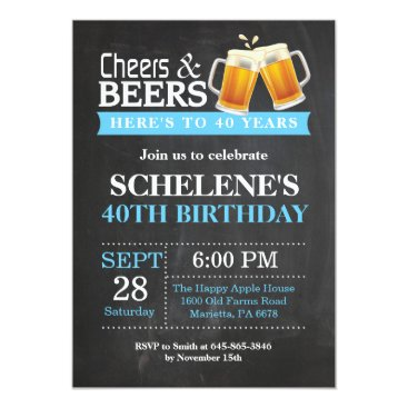 Cheers and Beers 40th Birthday Invitation Card
