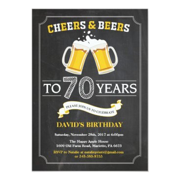 Cheers and Beers 70th Birthday Invitation Card