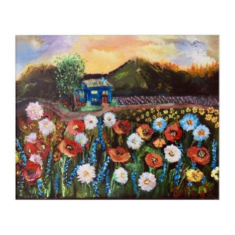 Cheery Folk Art Acrylic Cottage in Wildflowers