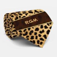 Cheetah Print Monogrammed Necktie