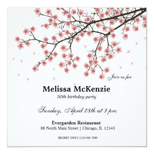 Cherry Blossom birthday party Invitation