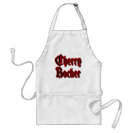 Cherry Rocker - Black Text w/Red Border Apron on Zazzle